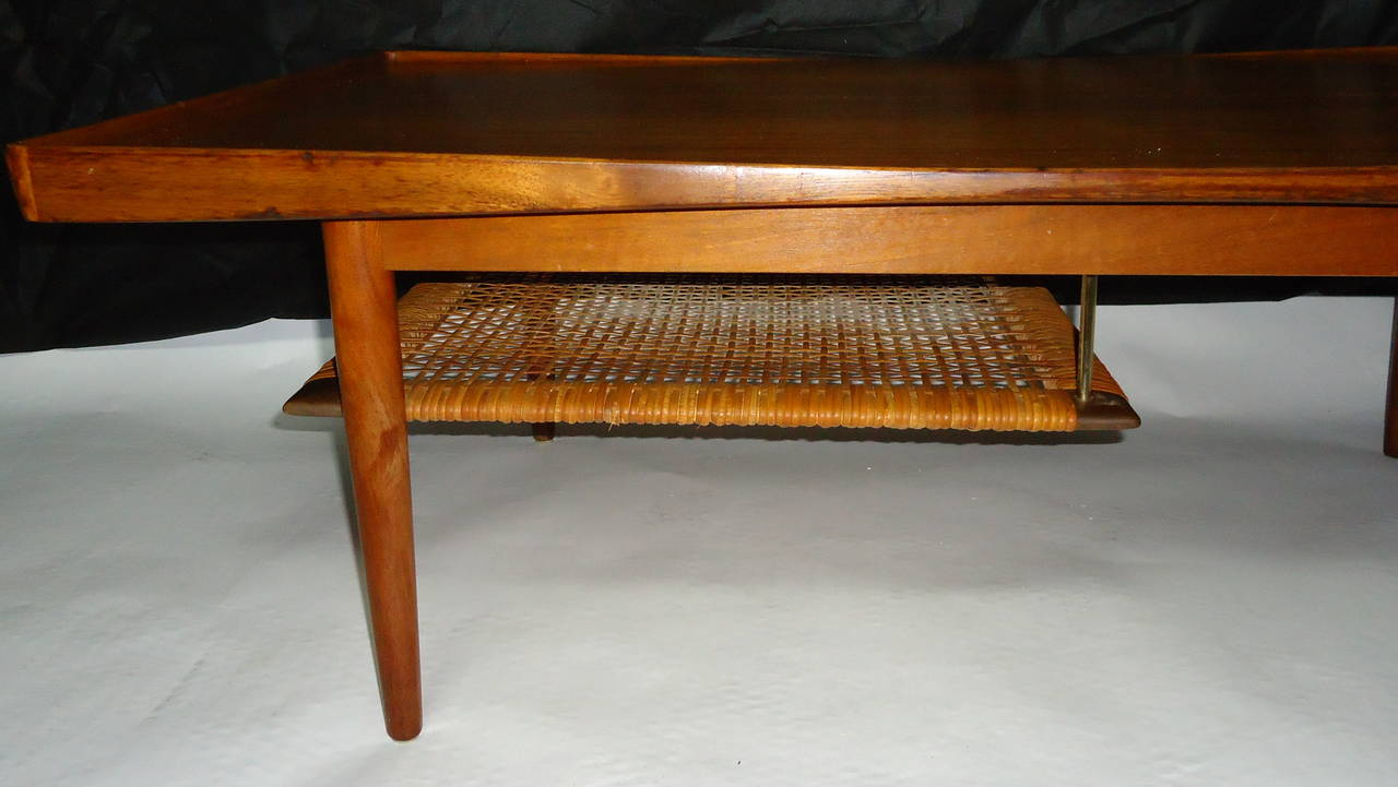 Poul Jensen Selig Coffee Table Teak And Cane Denmark 1950s For Sale At 1stdibs
