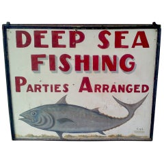 Deep Sea Fishing Hand Painted Double Sided Sign Maine c. 1960