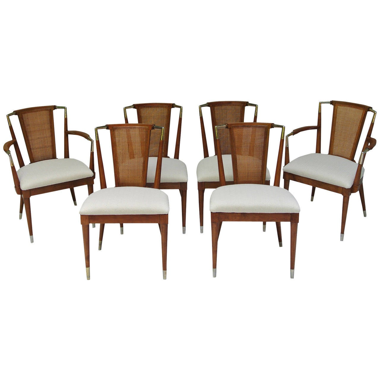 Bert England Forward Trend Six Cane and Brass Dining Chairs Johnson Co. 1950s