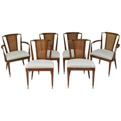 Suite of Six Mid-Century Cane and Brass Accented Dining Chairs Johnson Furniture