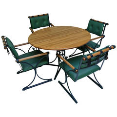Cleo Baldon Wrought Iron and Oak Table and Four Chairs, circa 1965