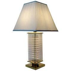 Liteline Glass Cane Table Lamp in the Style Gaetano Scolari, circa 1970