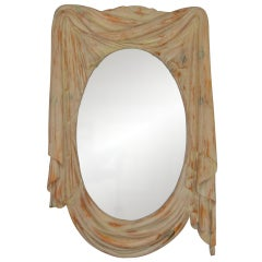 NeoClassical 1960s Draped Carved Wood Mirror by Chapman