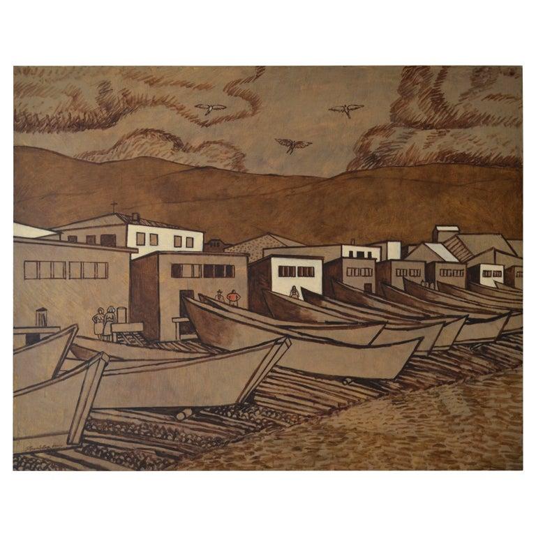 "James Strombotne Painting ""Angels Descend on the Village of Guadalupe"""