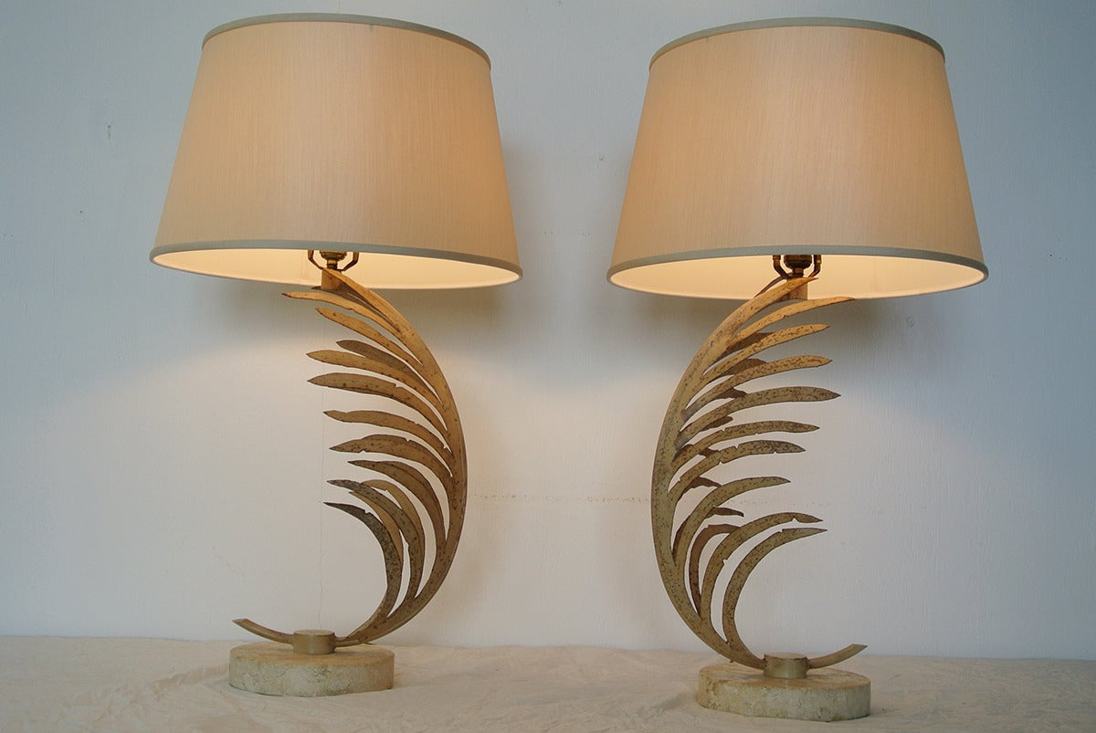Rare Midcentury Pair Of Cast Iron Palm Frond Table Lamps