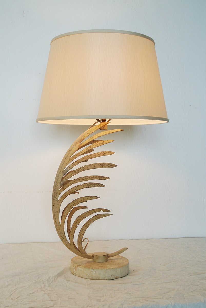 Metal Michael Taylor Palm Frond Table Lamps, with travertine marble bases,  circa 1985 For Sale