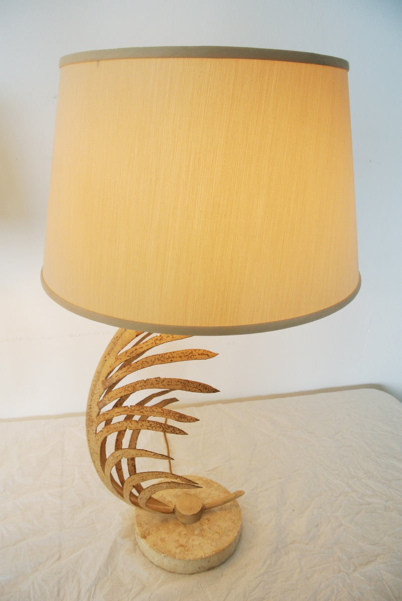 Michael Taylor Palm Frond Table Lamps, with travertine marble bases,  circa 1985 For Sale 1