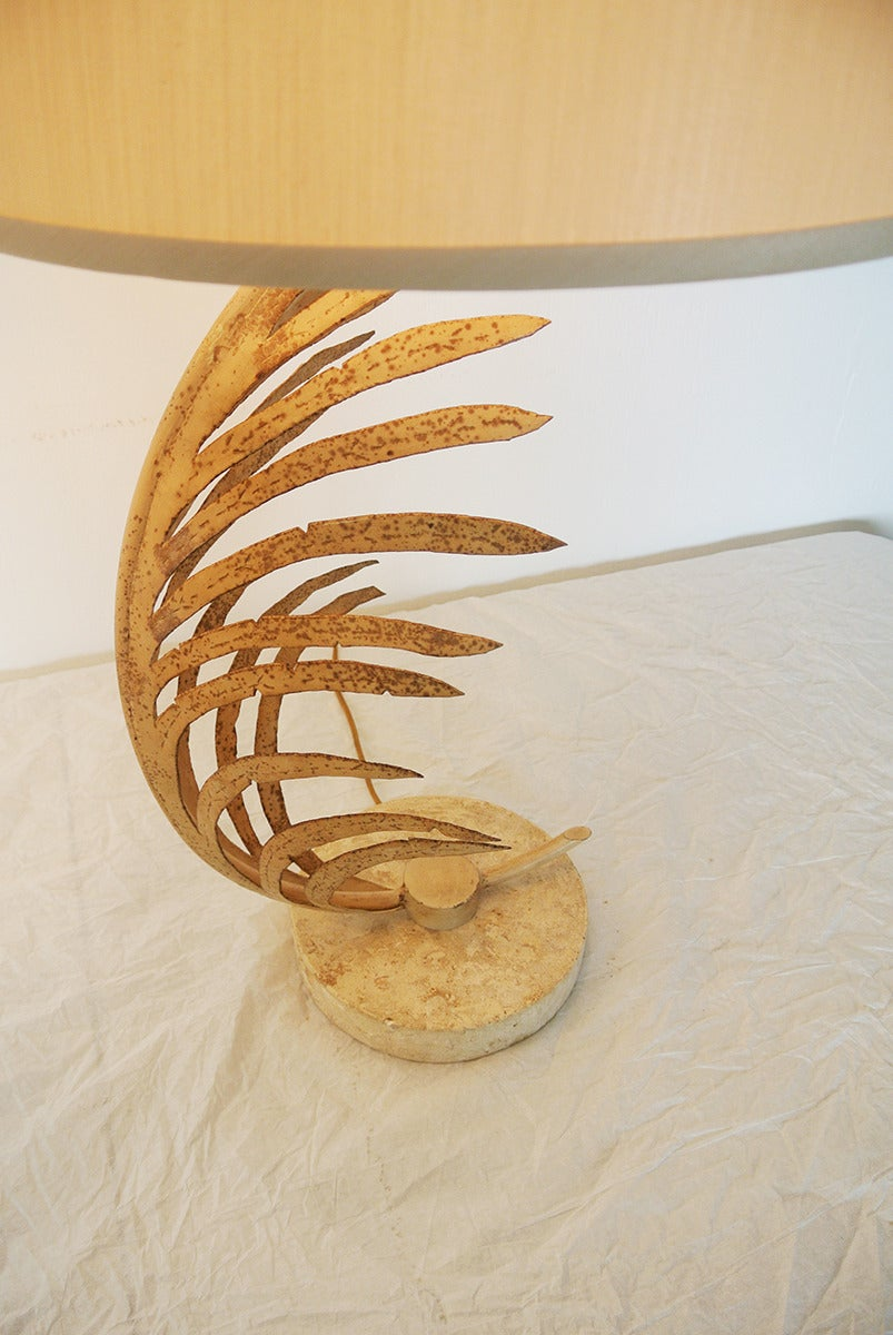 Michael Taylor Palm Frond Table Lamps, with travertine marble bases,  circa 1985 For Sale 2