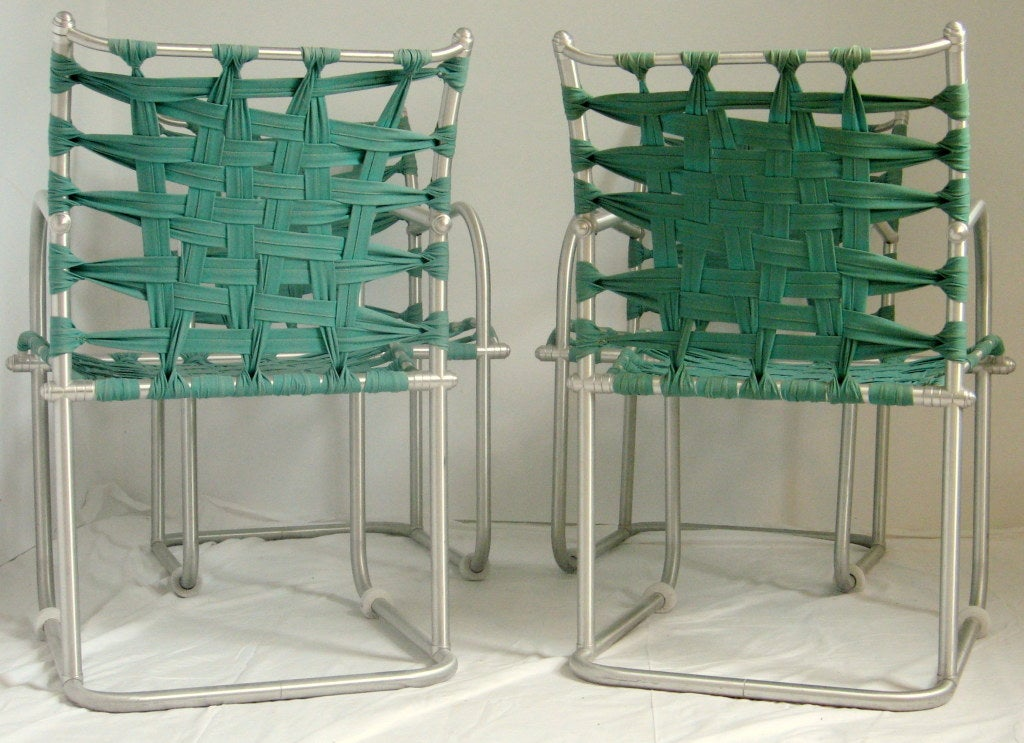Set of Four Warren McArthur Webbed Lounge Chairs, circa 1938 For Sale 4