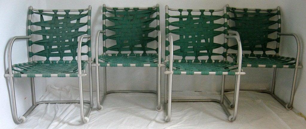 Art Deco Set of Four Warren McArthur Webbed Lounge Chairs, circa 1938 For Sale