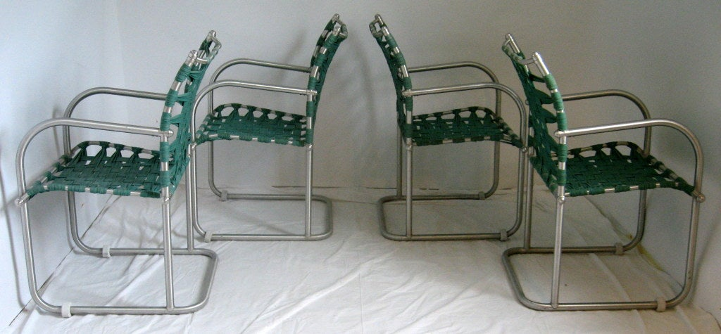 Set of Four Warren McArthur Webbed Lounge Chairs, circa 1938 In Good Condition For Sale In Camden, ME