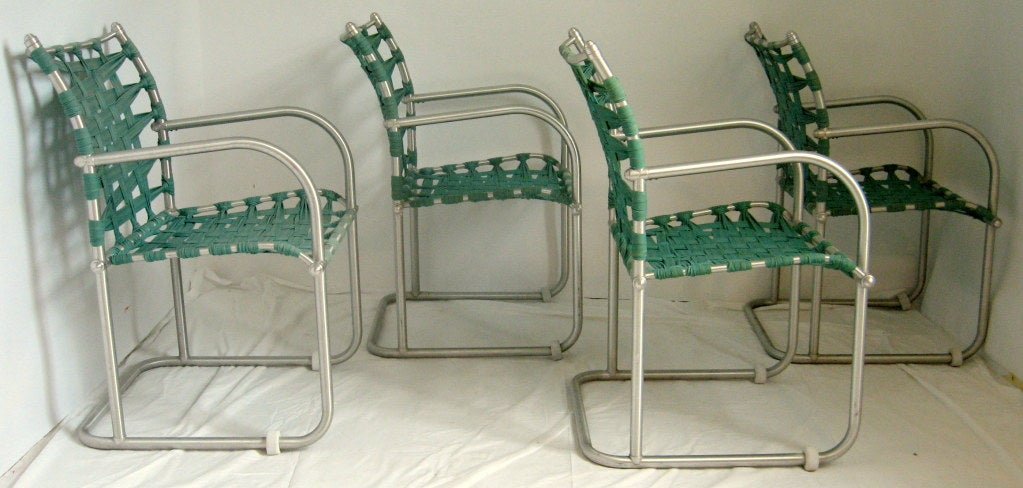 Set of Four Warren McArthur Webbed Lounge Chairs, circa 1938 For Sale 1