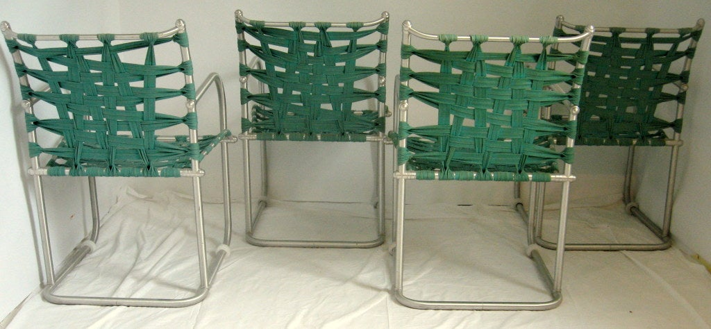 Set of Four Warren McArthur Webbed Lounge Chairs, circa 1938 For Sale 2