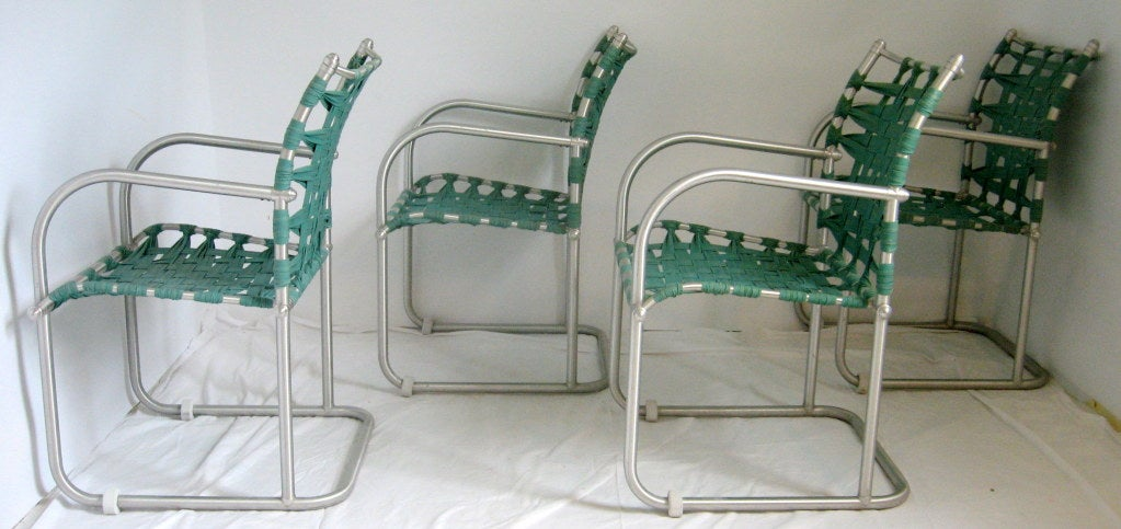 Set of Four Warren McArthur Webbed Lounge Chairs, circa 1938 For Sale 3