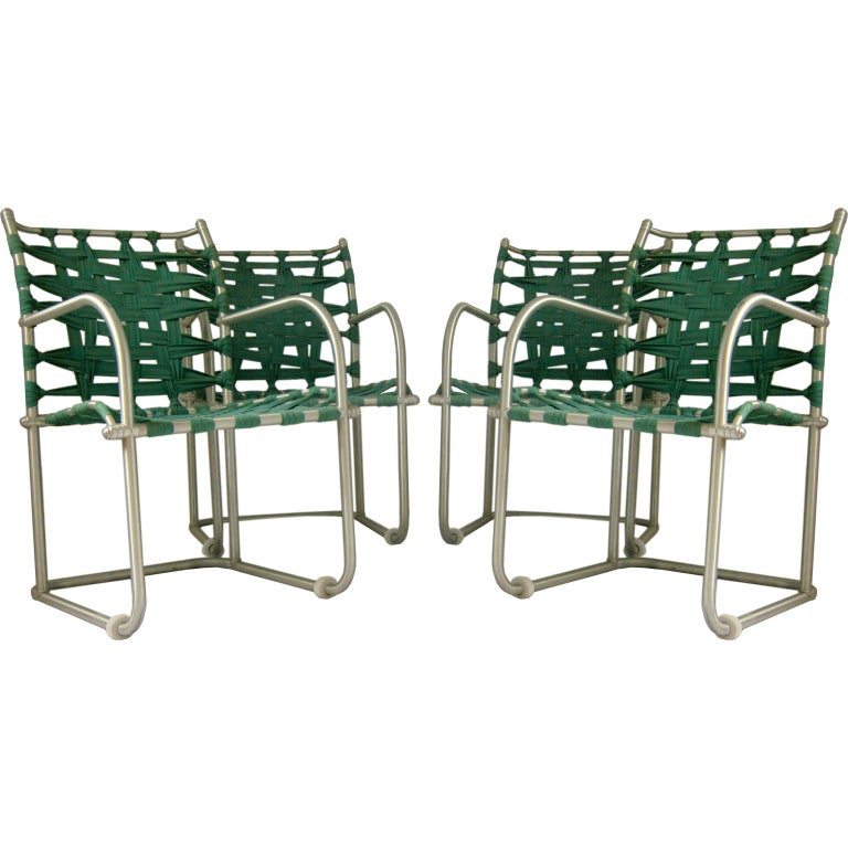 Set of Four Warren McArthur Webbed Lounge Chairs, circa 1938 For Sale
