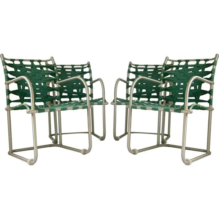 Set of Four Warren McArthur Webbed Lounge Chairs, circa 1938
