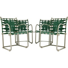 Warren McArthur Set of Four Webbed Lounge Chairs Style No. 612, circa 1938