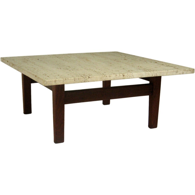Cocktail Table Arden Riddle 1921 2011 1969 Travertine Marble At 1stdibs