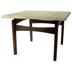 End Table Arden Riddle Black Walnut Travertine Top 1968
