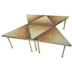 Rare Genaro Alvarez Brass and Glass Tile Six-Piece Mosaic Coffee Table, Mexico