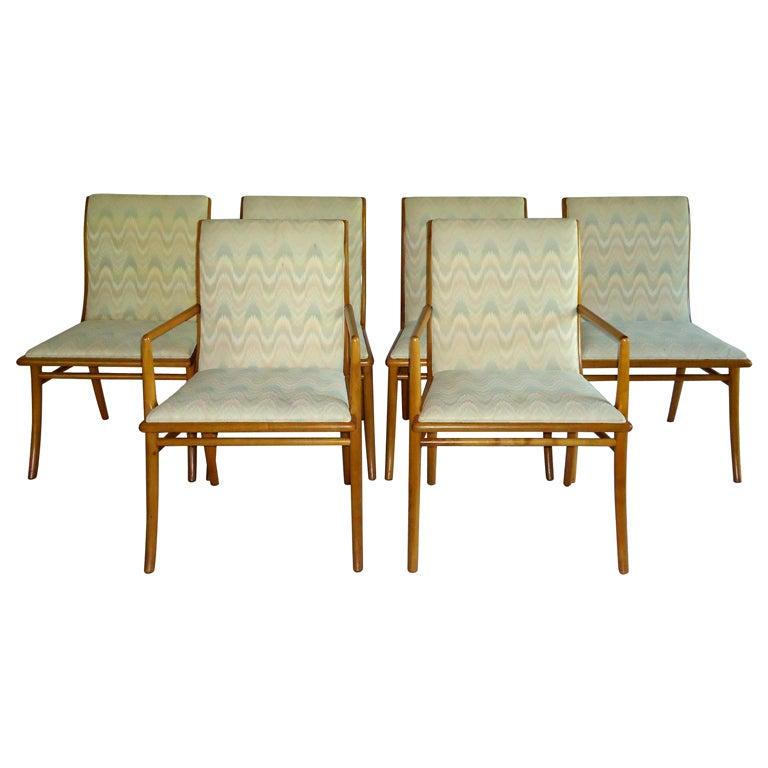 Set Of 6 Robsjohn-Gibbings Saber Leg Dining Chairs 1953 At