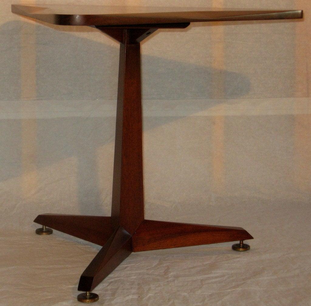 Black walnut triangular end table c at stdibs