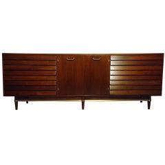 American Martinsville Nine-Drawer Walnut Dresser, circa 1955
