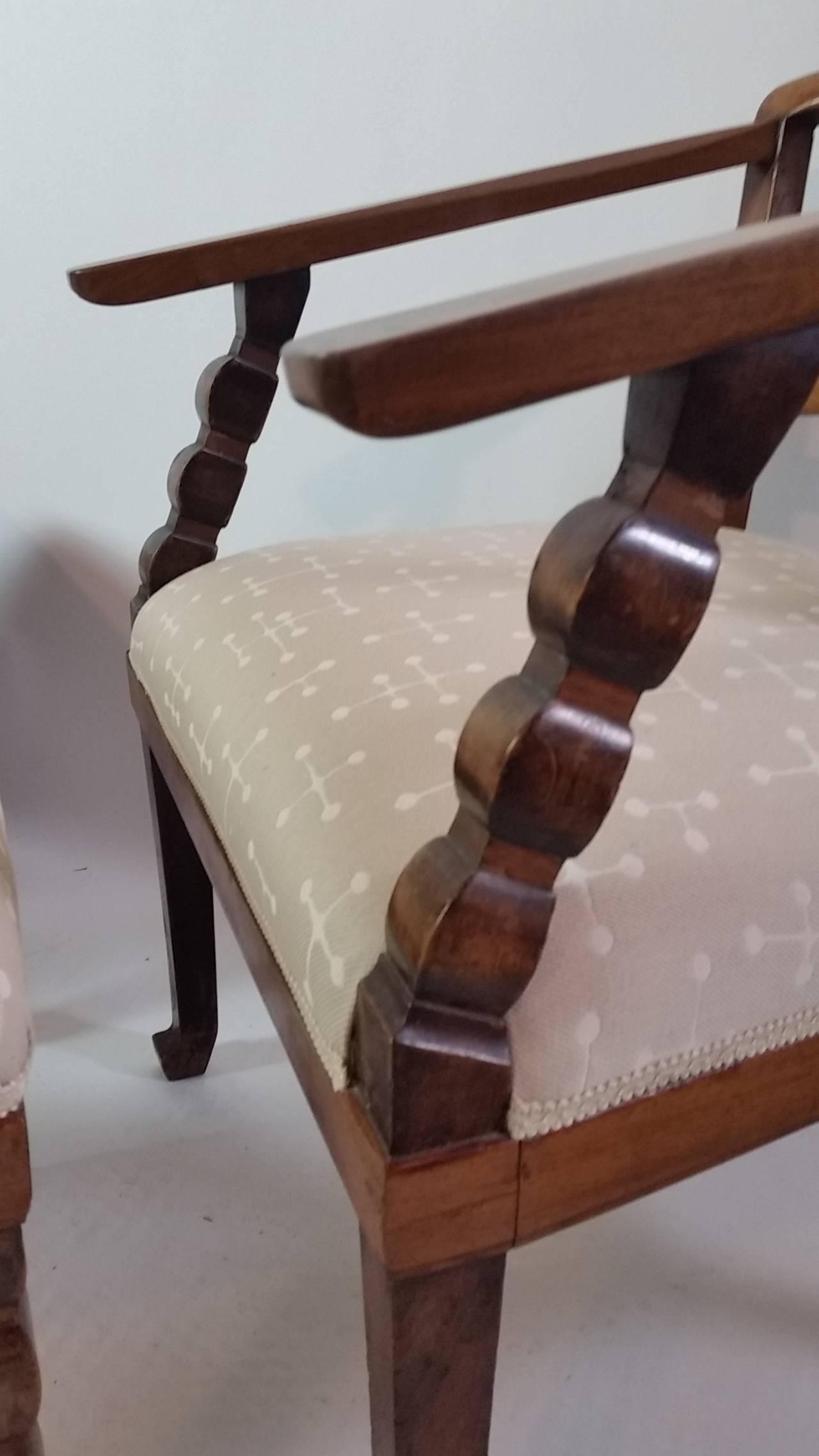 Upholstery Italian, Venetian fruitwood Armchairs with Ottoman, circa 1925 For Sale