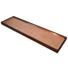"""Arden Riddle Black Walnut 66"""" Copper Lined Rolling Plant Stand , 1969"""