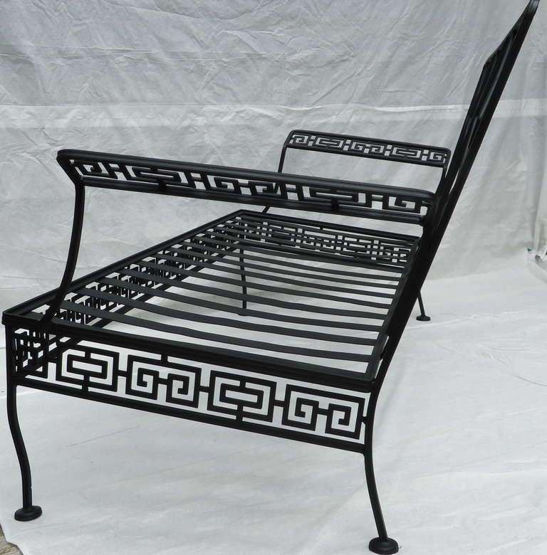 Salterini Wrought Iron Neoclassic Greek Key Couch Indoor
