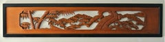 Japanese Carved Wood Ramna, 'Architectural Transom'