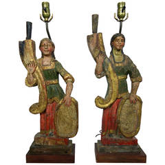 Rare Carved 18th-19th Century Italian Polychrome Candelabra Table Lamps