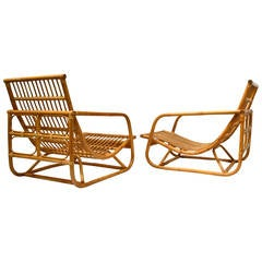 Pair of Dutch Style Bamboo Rattan Lounge Chairs, circa 1960
