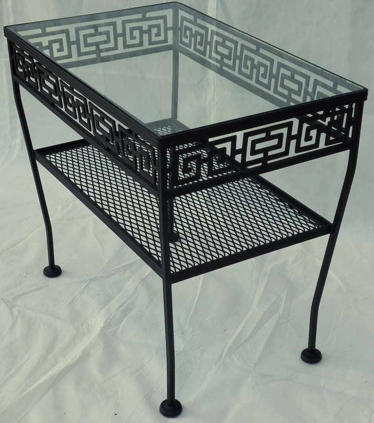 Wrought iron side table greek key woodard patio table c for Wrought iron side table