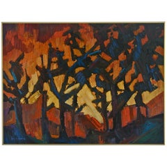 "Expressionist painting of landscape, titled: ""Fire Sky"""