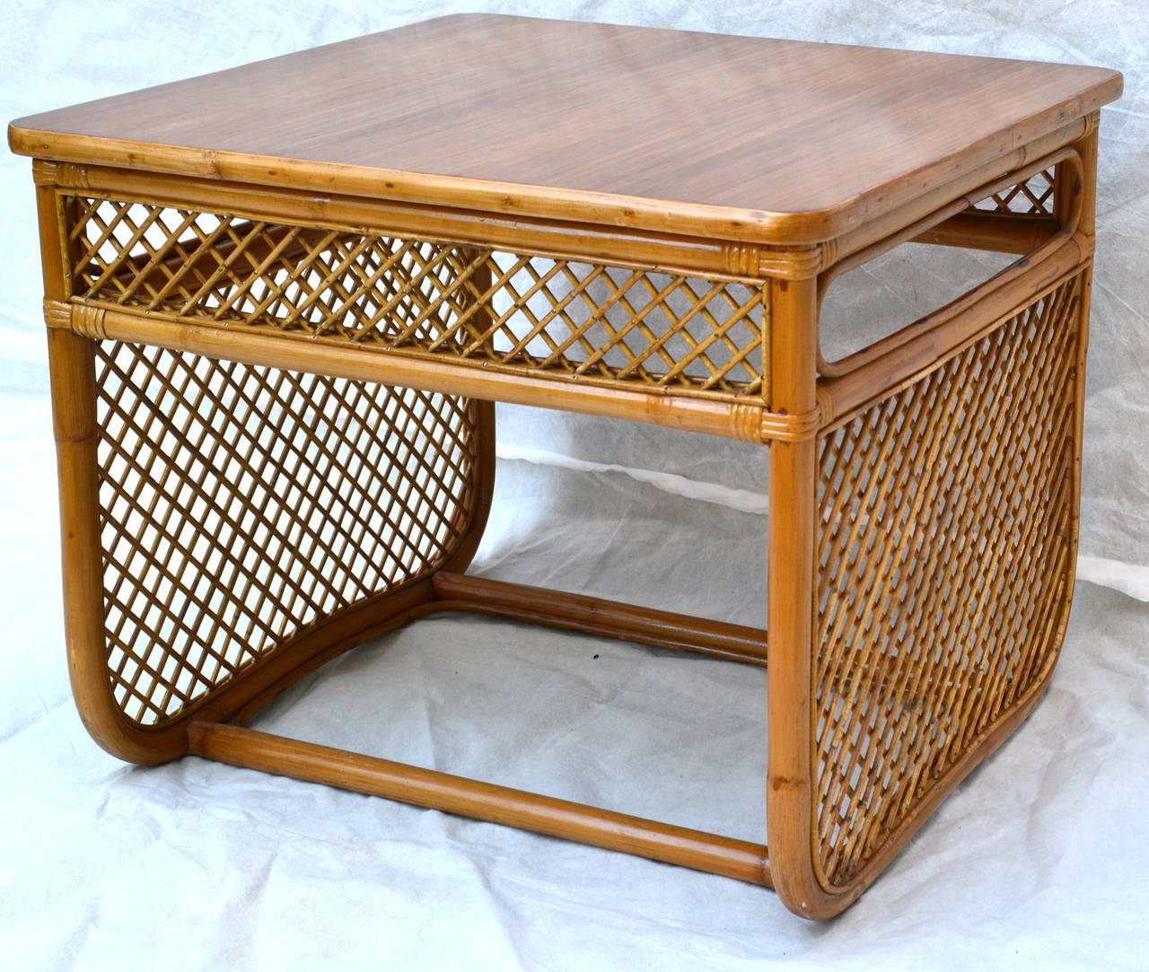 Bamboo Caned End Table With A Lacquered Teak Top. This Side Table Is Nicely  Detailed