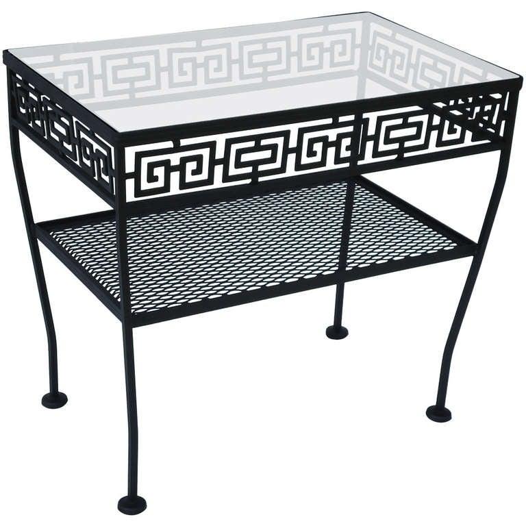 Wrought Iron Side Table Greek Key Woodard Patio Table c ...