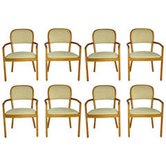 Ward Bennett for Brickel Associates Eight Ash Dining Chairs, 1983