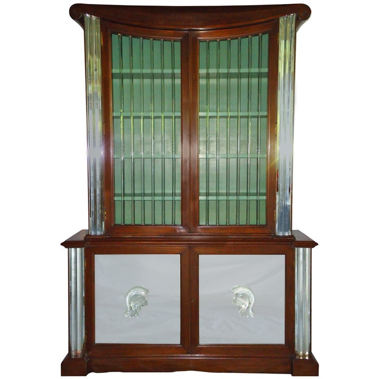 Grosfeld House Lorin Jackson Glass Caned Illuminated Mahogany Vitrine circa 1940 For Sale