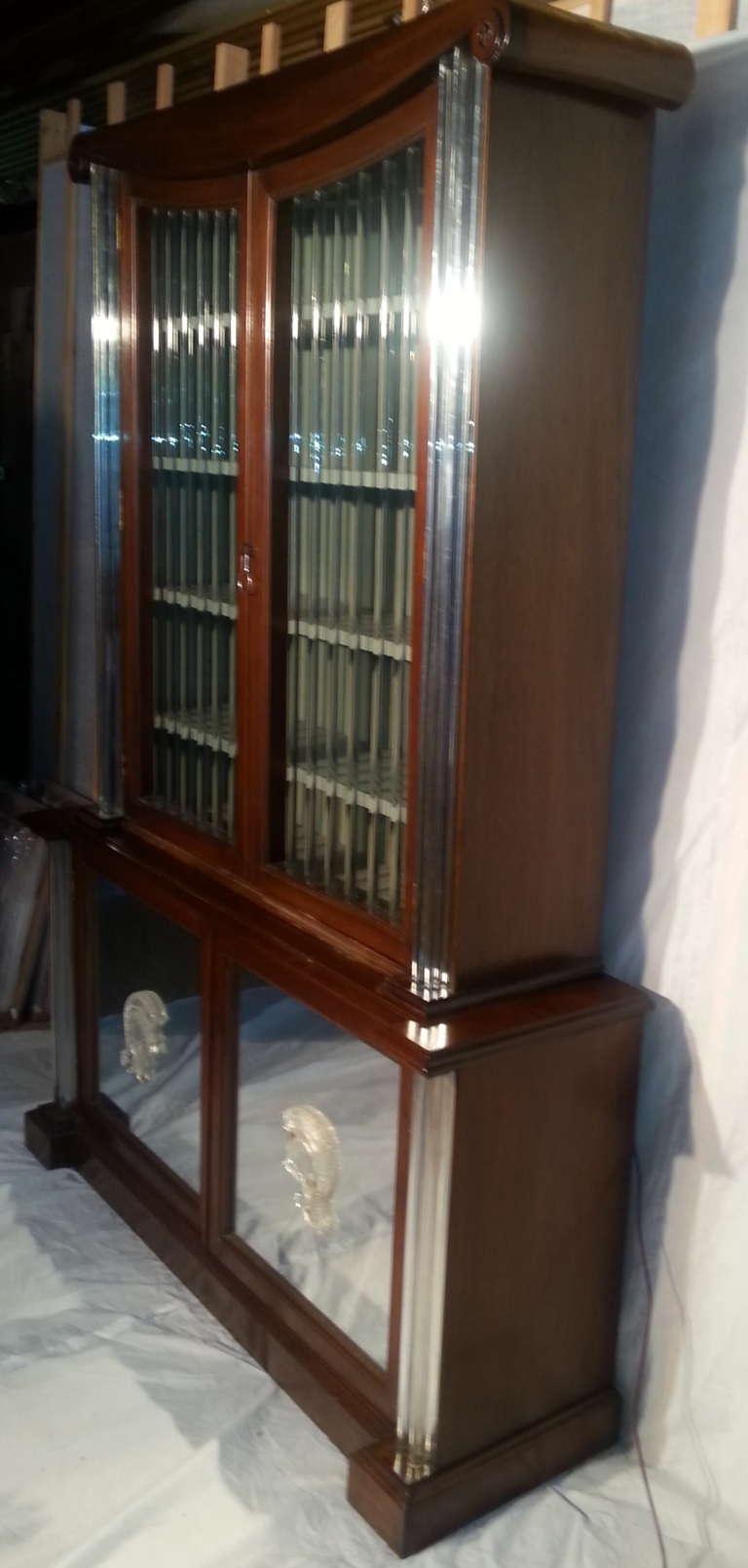 Cast Grosfeld House Lorin Jackson Glass Caned Illuminated Mahogany Vitrine circa 1940 For Sale