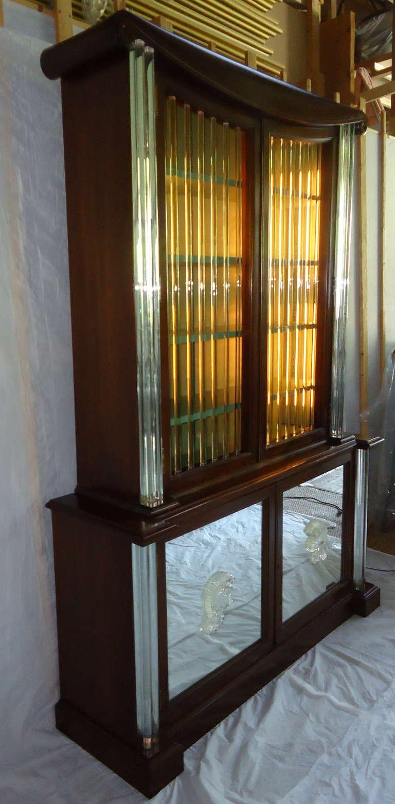 American Grosfeld House Lorin Jackson Glass Caned Illuminated Mahogany Vitrine circa 1940 For Sale