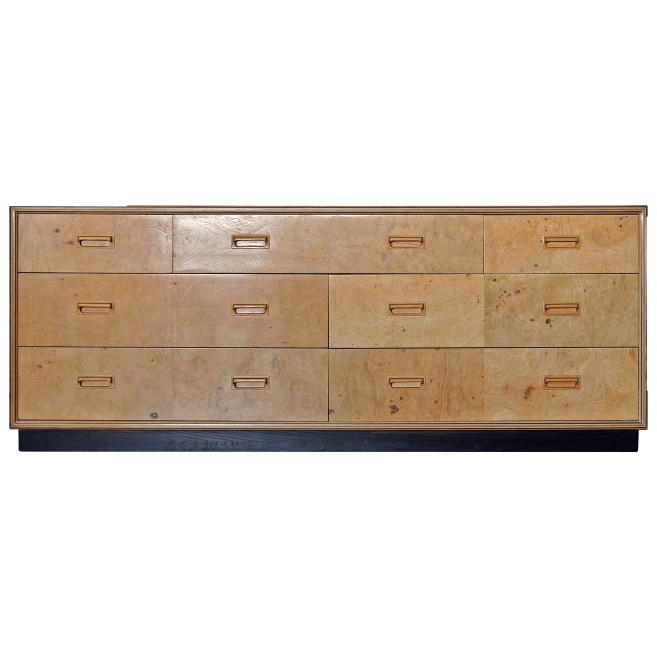 Henredon Seven Drawer Dresser Olive Burl Scene Two circa 1970 For
