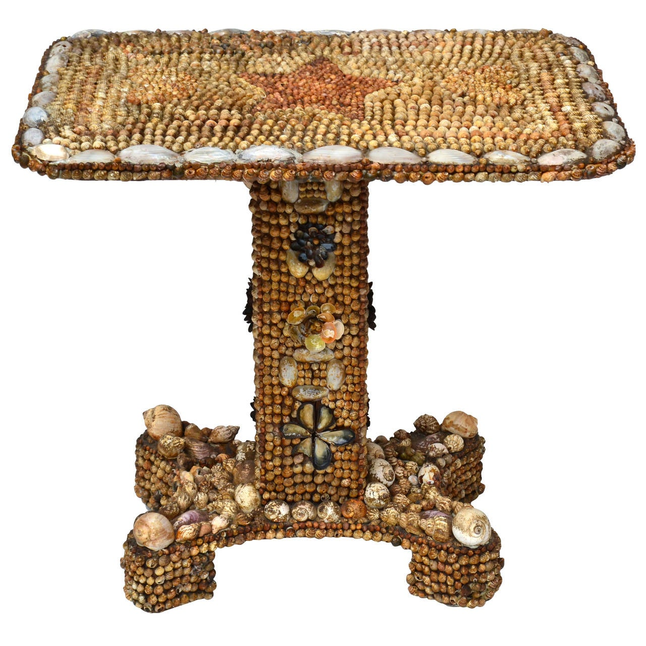 Seashell Encased Console Table American Sailor Folk Art Mosaic Valentine,  Maine For Sale