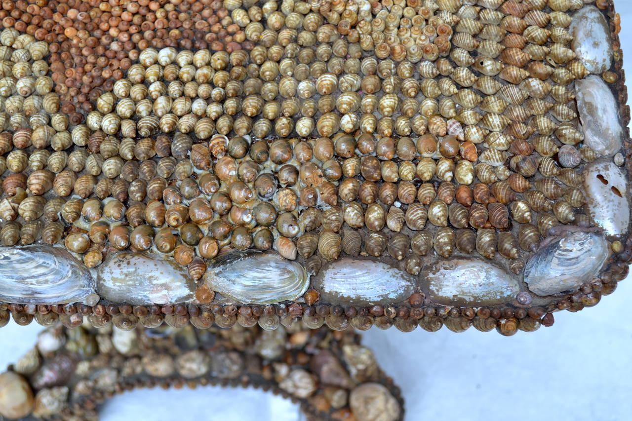 Seashell encased console table american sailor folk art for Seashell mosaic art