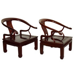 Exquisite Pair of Hand-Carved Ming Style Rosewood Lounge Chairs, circa 1960