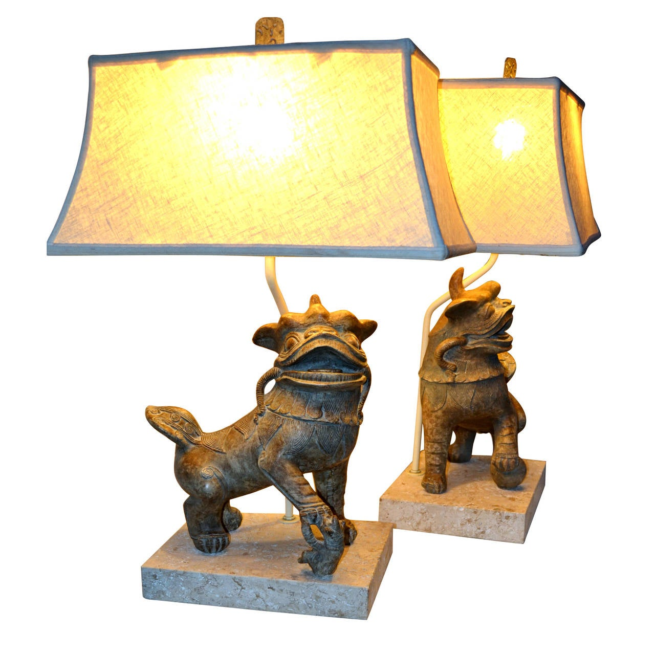 Pair Of Ceramic Foo Dog Lamps On Fossil Stone Bases, Circa 1960 For Sale