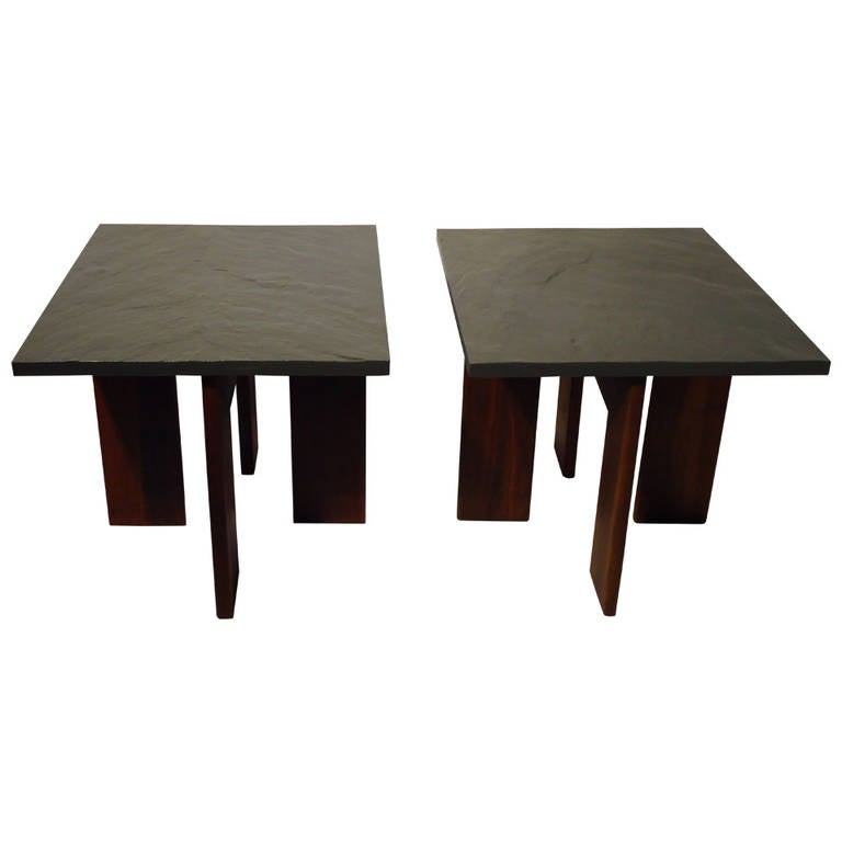 Adrian Pearsall For Craft Associates Pair Of Walnut And Slate End Tables  C.1958 1
