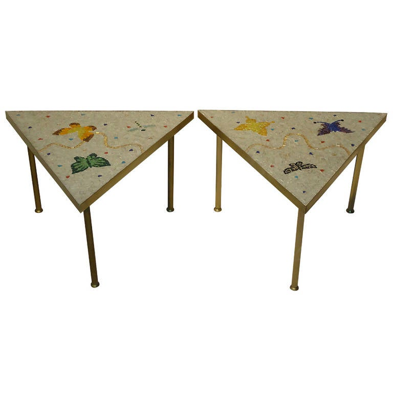Pair of Mexican Mosaic Tile Brass Framed Side Tables By Genaro Alvarez 1