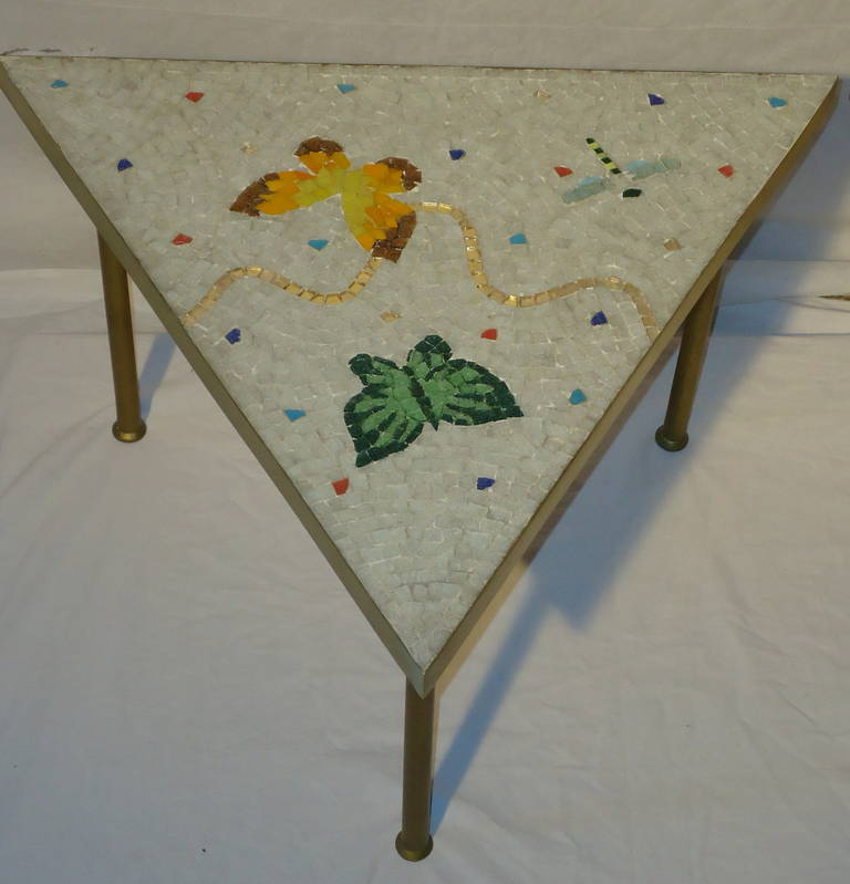 Pair of Mexican Mosaic Tile Brass Framed Side Tables By Genaro Alvarez 9