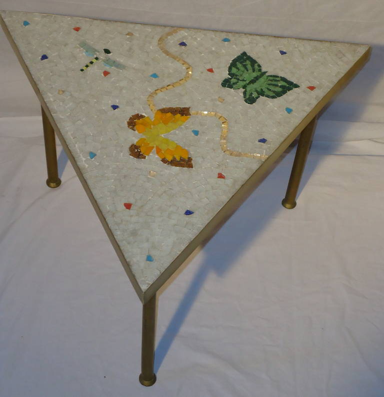 Pair of Mexican Mosaic Tile Brass Framed Side Tables By Genaro Alvarez 5
